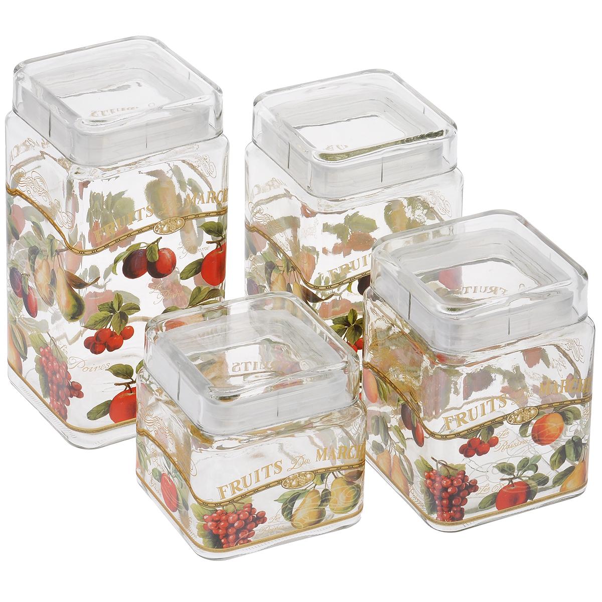 Набор банок для сыпучих продуктов Sinoglass Фрукты, 4 шт