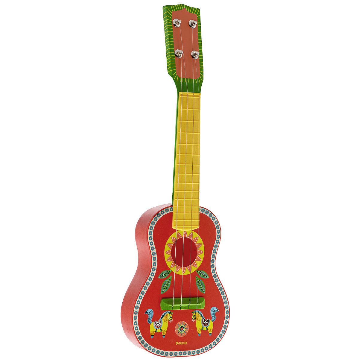 Djeco Гитара Animambo, цвет: красный, зеленый, желтый djeco маракас animambo