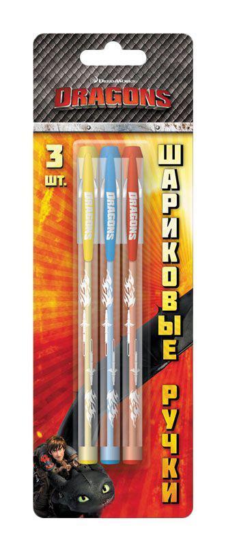Набор шариковых ручек DRAGONS, 3 шт, блистер erich krause набор шариковых ручек r 301 classic 1 0 stick 3 шт 42618