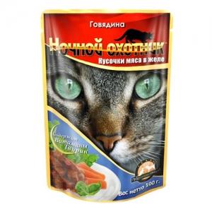 Консервы для взрослых кошек Ночной охотник, с говядиной в желе, 100 г консервы для котят ночной охотник с говядиной в соусе 100 г