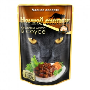 Консервы для взрослых кошек Ночной охотник , с мясным ассорти в соусе, 100 г консервы для котят ночной охотник с говядиной в соусе 100 г