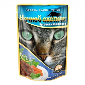 """Консервы для взрослых кошек """"Ночной охотник"""", с лососем, судаком и тунцом в желе, 100 г"""