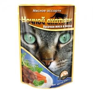 """Консервы для взрослых кошек """"Ночной охотник"""", с мясным ассорти в желе, 100 г"""
