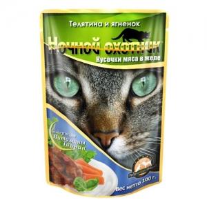 """Консервы для взрослых кошек """"Ночной охотник"""", с телятиной и ягненком в желе, 100 г"""