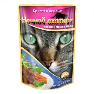 """Консервы для взрослых кошек """"Ночной охотник"""", с кроликом и сердцем в желе, 100 г"""
