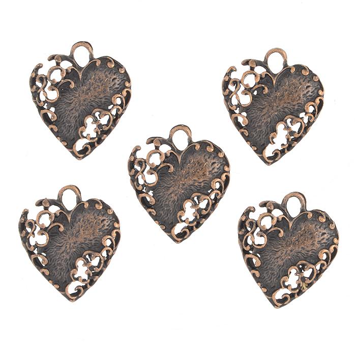 Подвеска металлическая Астра Сердце, цвет: медный, 20 мм х 13 мм, 5 шт набор декоративных подвесок астра море 2 6 шт