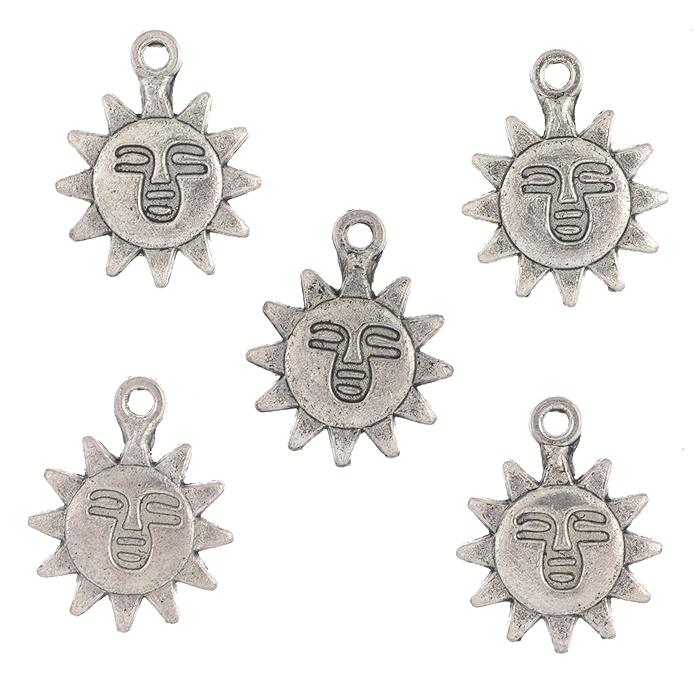 Подвеска металлическая Астра Солнце, цвет: старое серебро, диаметр 14 мм, 5 шт набор декоративных подвесок астра море 2 6 шт