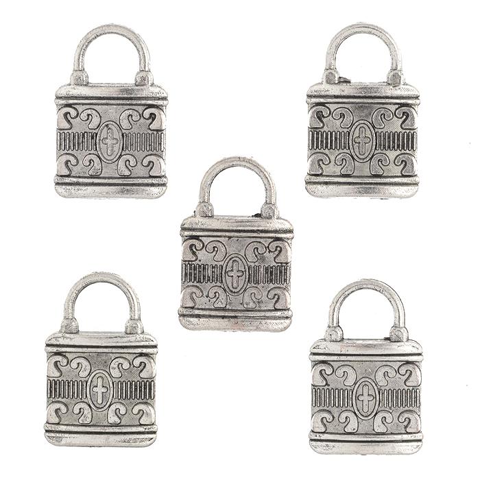 Подвеска металлическая Астра Замок, цвет: старое серебро, 21 мм х 14 мм, 5 шт набор декоративных подвесок астра море 2 6 шт