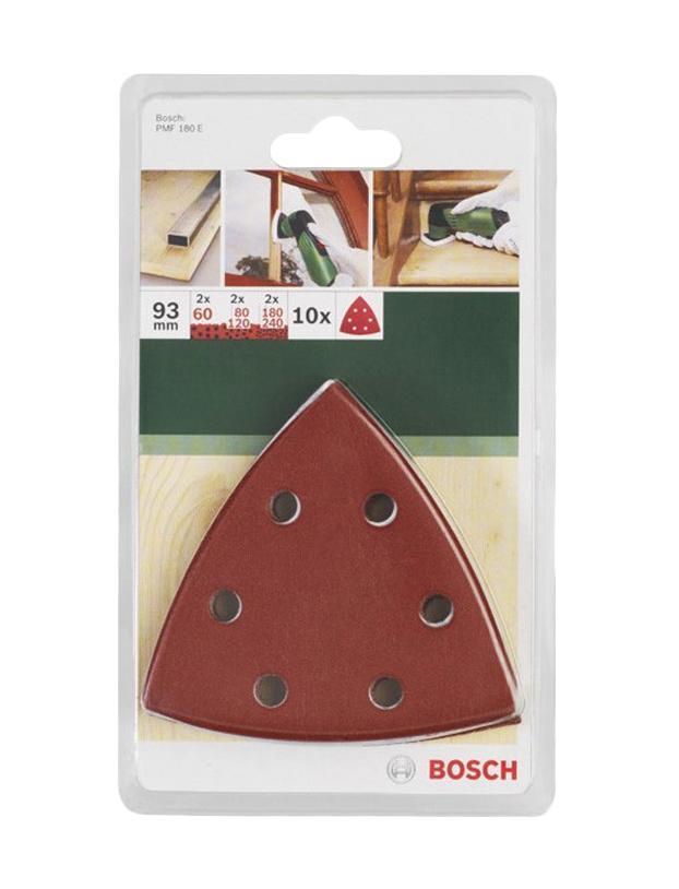 Bosch набор из 10 шлифлистов (2609256957) набор шлифлистов по дереву краске bosch 93x185мм 40 зерно 10шт 2609256a80