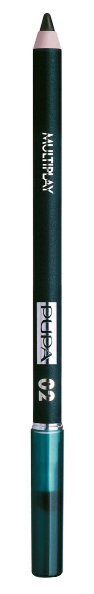 PUPA Карандаш для век с аппликатором Multiplay Eye Pencil, тон 02 электрик зеленый , 1.2 г цена