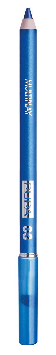 PUPA Карандаш для век с аппликатором Multiplay Eye Pencil, тон 03 небесно-синий , 1.2 г lavellecollection карандаш pl12 двойной с точилкой тон 22 черный синий 7 г