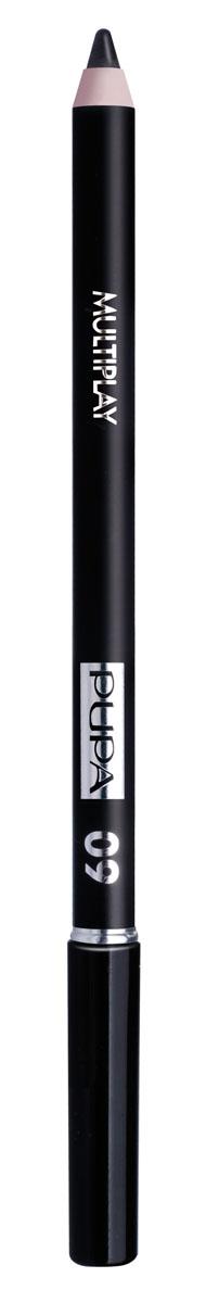 PUPA Карандаш для век с аппликатором Multiplay Eye Pencil, тон 09 черный , 1.2 г lavellecollection карандаш pl12 двойной с точилкой тон 22 черный синий 7 г