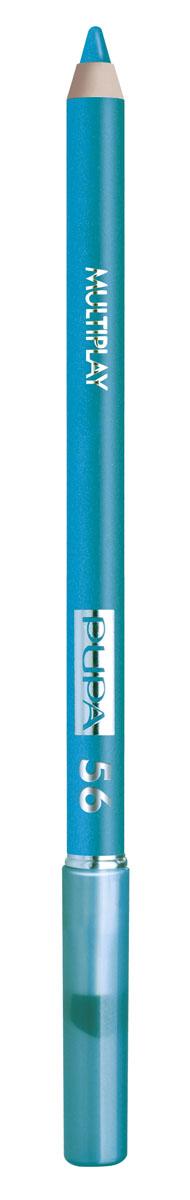 PUPA Карандаш для век с аппликатором Multiplay Eye Pencil тон 56 синий,1,2 гр. lavellecollection карандаш pl12 двойной с точилкой тон 22 черный синий 7 г