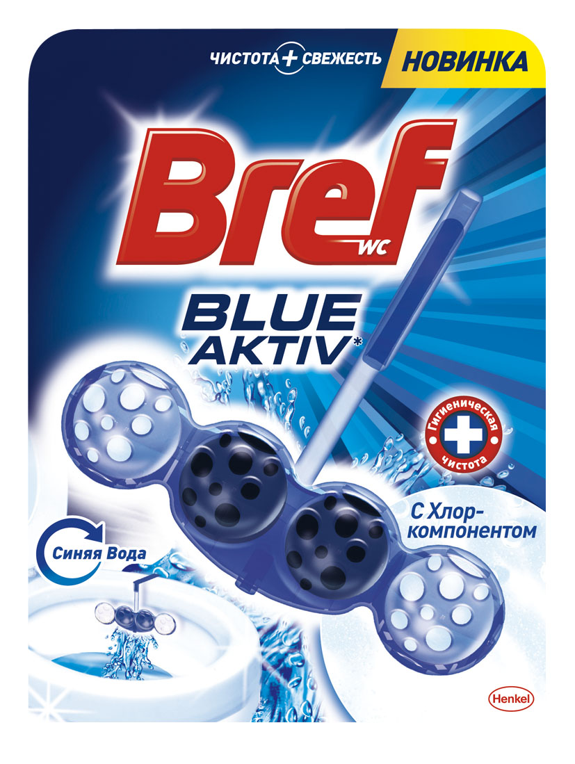 Чистящее средство для унитаза Bref Blue-Aktiv с Хлор-компонентом 50г цена
