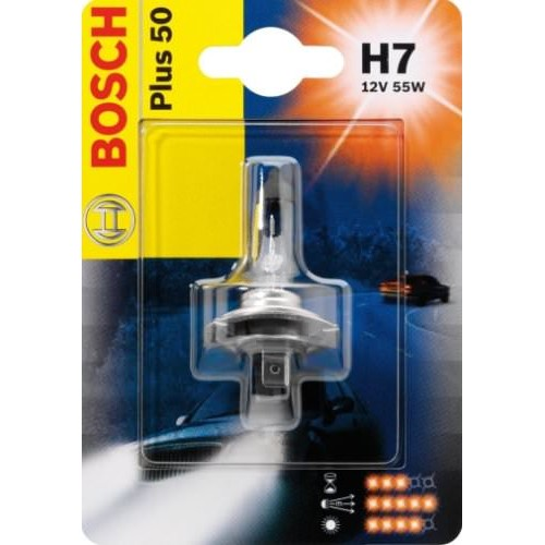 BOSCH лампа галоген Plus 50 H7 12V [55W] [блистер] [1 шт], (ЛАМПА (H7) 55W 12V PX26D ГАЛОГЕННАЯ +50% МОЩНОСТИ СВЕТА, В БЛИСТЕРЕ ) cawanerl 55w h7 car light headlight low beam for bmw 540i 1997 2003 auto hid xenon kit ac no error ballast bulb 3000k 8000k