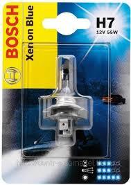 BOSCH лампа галоген H7 12 V 55 W Xenon Silver, белый свет 5000К, патрон PX26d, (увеличенная светоотдача на 50%, белый световой поток), 1 шт.
