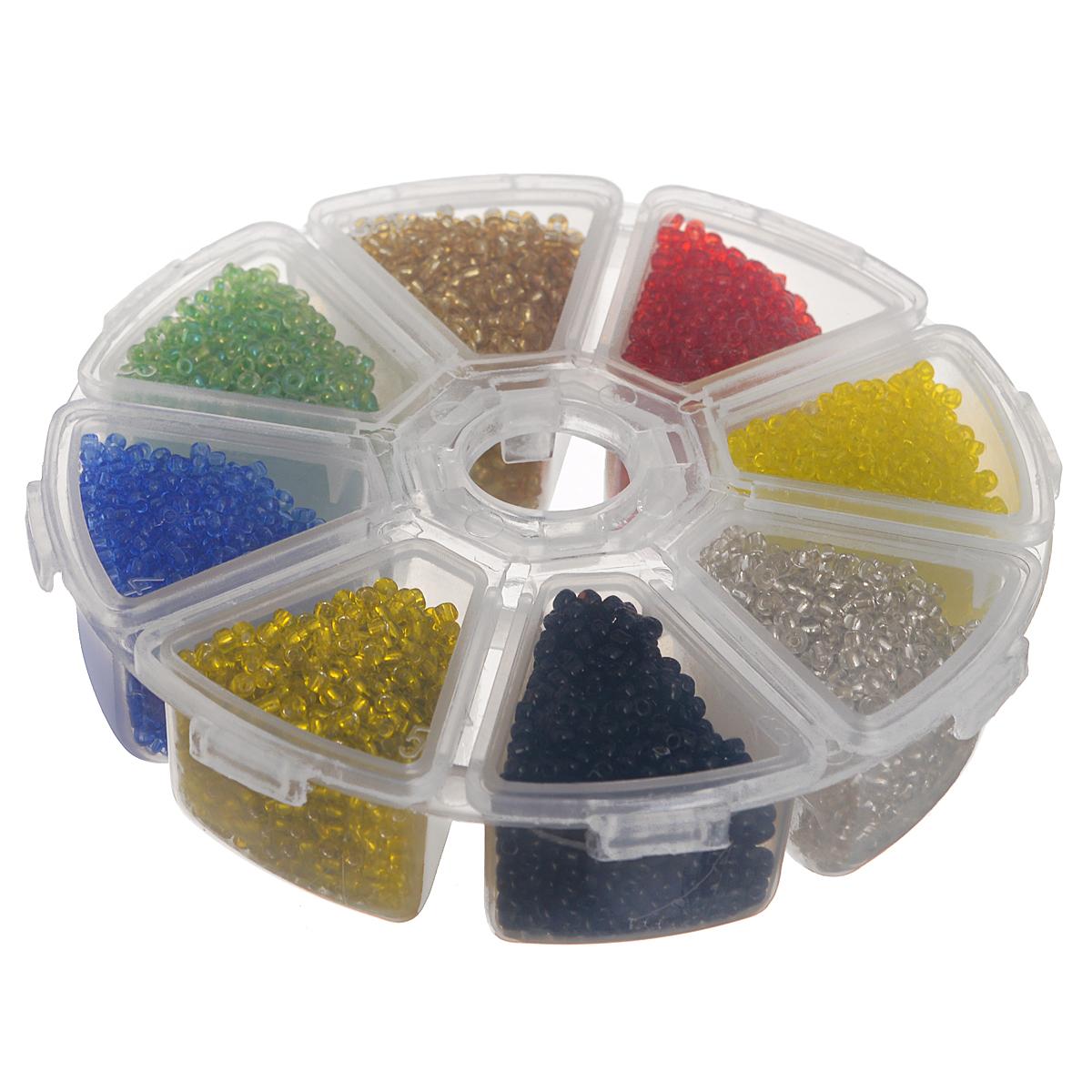 Набор бисера Астра Ассорти, 8 цветов х 16 г676995Набор бисера Астра Ассорти позволит вам своими руками создать оригинальные ожерелья, бусы или браслеты, а также заняться вышиванием. В бисероплетении часто используют бисер разных размеров и цветов. Он идеально подойдет для вышивания на предметах быта и женской одежде. Набор включает в себя бисер разных цветов: светло-зеленого, красного, золотистого, синего, серебристого, желтого, темно-желтого, черного. Предметы набора упакованы в пластиковую круглую коробочку с восьмью отсеками. Изготовление украшений - занимательное хобби и реализация творческих способностей рукодельницы, это возможность создания неповторимого индивидуального подарка. Рекомендуем!
