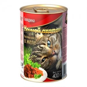 Консервы для взрослых кошек Ночной охотник, с говядиной в желе, 400 г консервы для взрослых кошек ночной охотник с говядиной и печенью в соусе 400 г