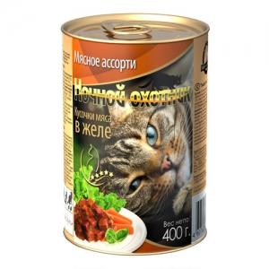 """Консервы для взрослых кошек """"Ночной охотник """", с мясным ассорти в желе, 400 г"""