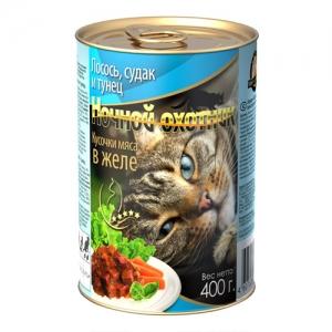 """Консервы для взрослых кошек """"Ночной охотник"""", с лососем, судаком и тунцом в желе, 400 г"""