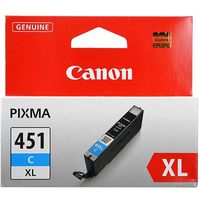 Картридж Canon CLI-451 C XL, голубой, для струйного принтера, оригинал