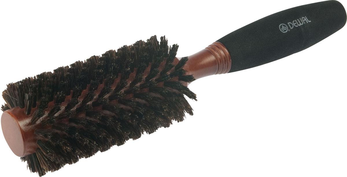 Dewal Расческа круглая, с натуральной щетиной и мягкой ручкой. BRWC603