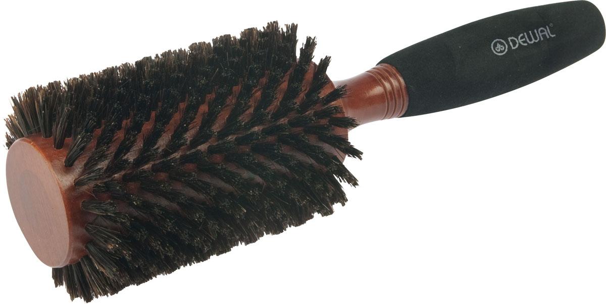 Dewal Расческа круглая деревянная с натуральной щетиной. BRWC605