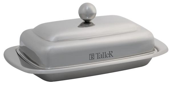 Масленка Taller Holly, 250 гTR-1216Масленка Taller Holly идеально подходит для хранения масла и сервировки стола. Масленка выполнена из нержавеющей стали с внешней зеркальной полировкой и состоит из подноса и крышки с ручкой. Благодаря специальным выемкам крышка плотно устанавливается на поднос. Современный изысканный дизайн создаст безупречный стиль для вашей кухни. Масло в такой масленке долго остается свежим, а при хранении в холодильнике не впитывает посторонние запахи. Можно мыть в посудомоечной машине. Рекомендуем!