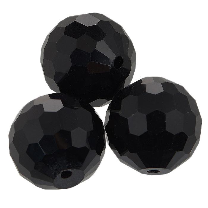 """Бусины """"Астра"""", цвет: черный (2), диаметр 20 мм, 3 шт. 7705647_2"""