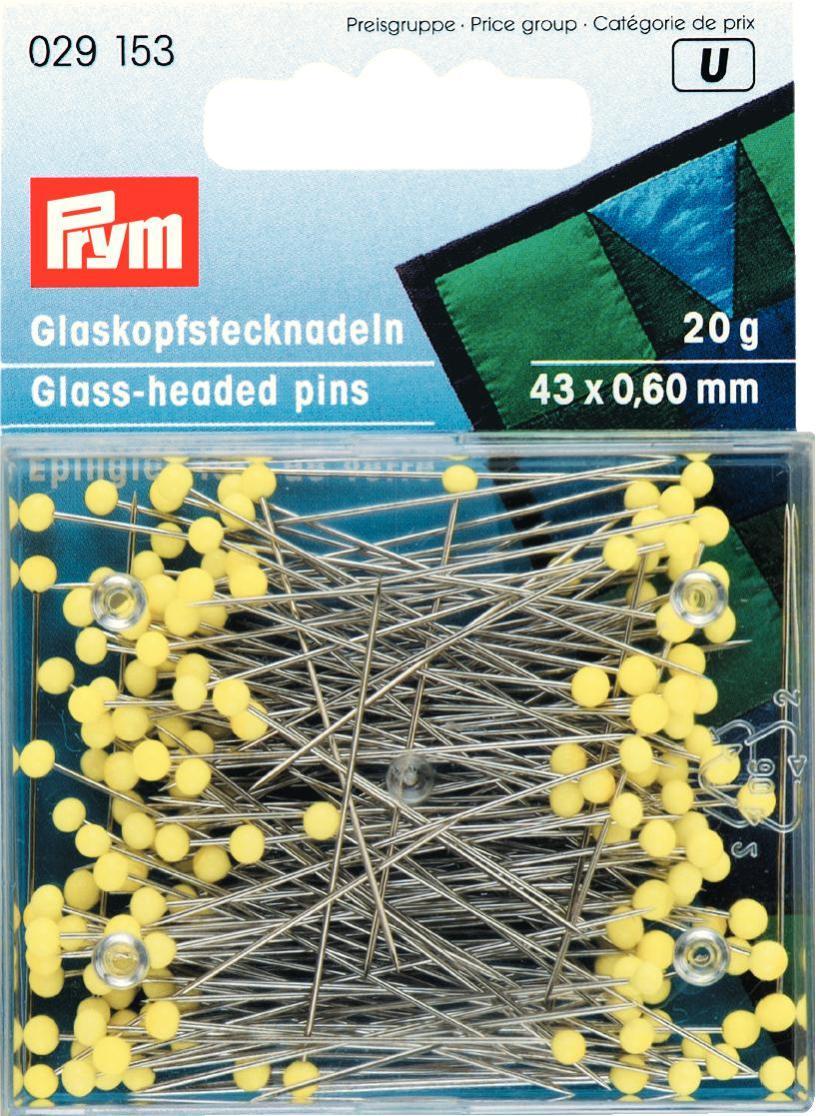 Булавки для шитья Prym, цвет: желтый, 43 х 0,6 мм, 20 г булавки для шитья gamma ромашка 40 шт