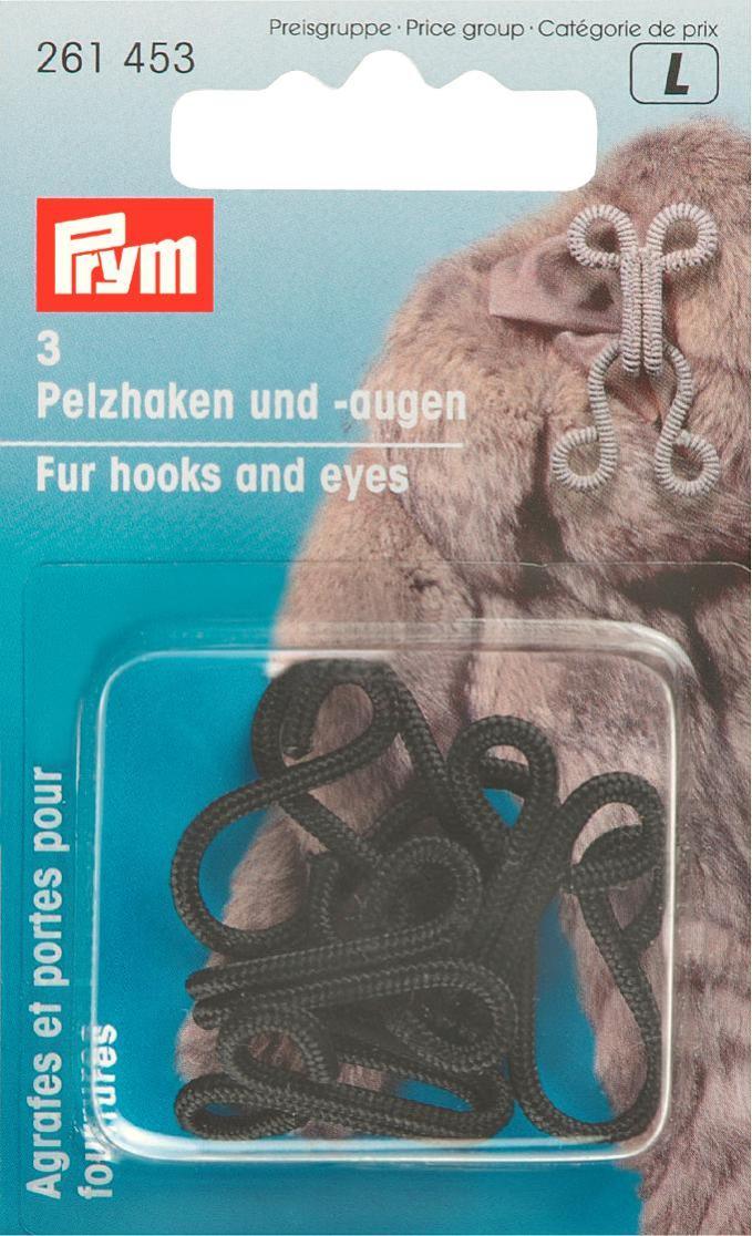 Крючки и петли для меховых изделий Prym, цвет: черный, 3 пары крючки и петли для одежды hobby