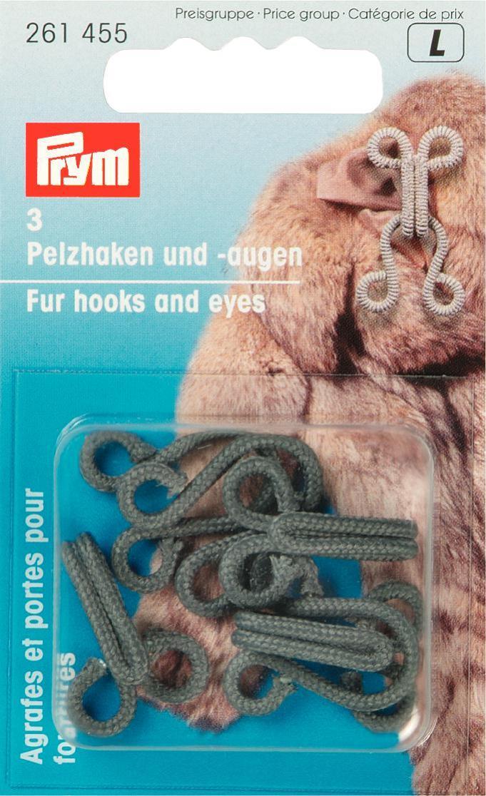 Крючки и петли для меховых изделий Prym, цвет: серый, 3 пары крючки и петли для одежды hobby