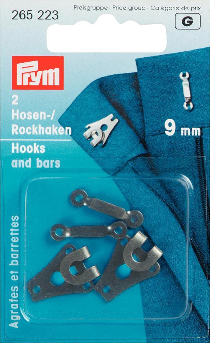 Крючки и петли для юбок и брюк Prym, цвет: черный, 9 мм, 2 пары крючки и петли для одежды hobby