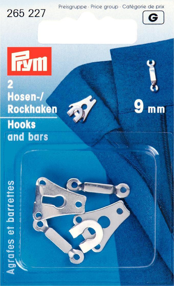 Крючки и петли для юбок и брюк Prym, цвет: серебристый, 9 мм, 2 пары крючки и петли для одежды hobby