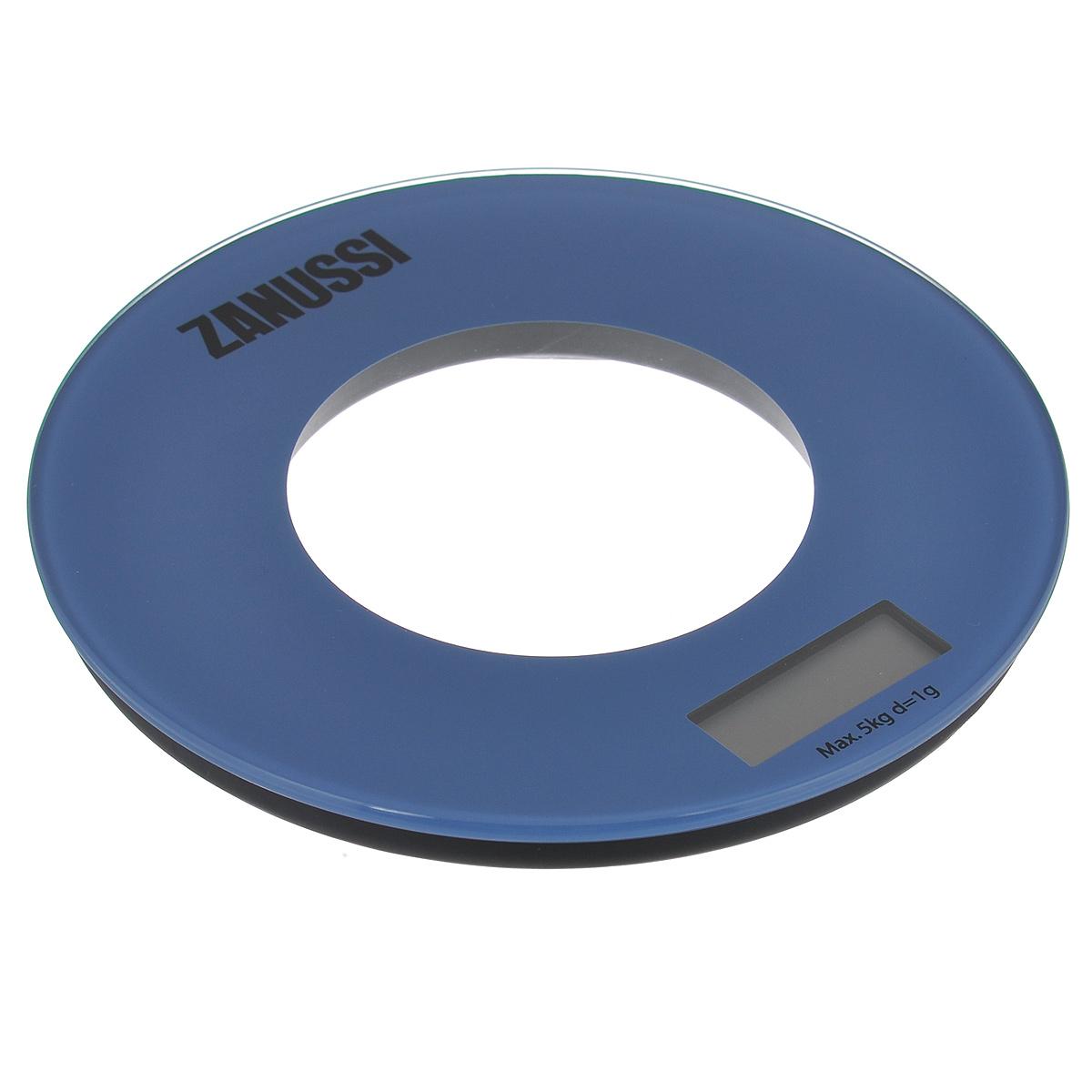 Весы кухонные Zanussi Bologna, электронные, цвет: синий, до 5 кг. ZSE21221EF