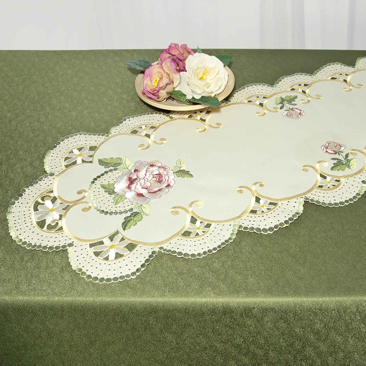 """Дорожка для декорирования стола """"Schaefer"""", овальная, цвет: бежевый, зеленый, 40 x 110 см 07484-233"""