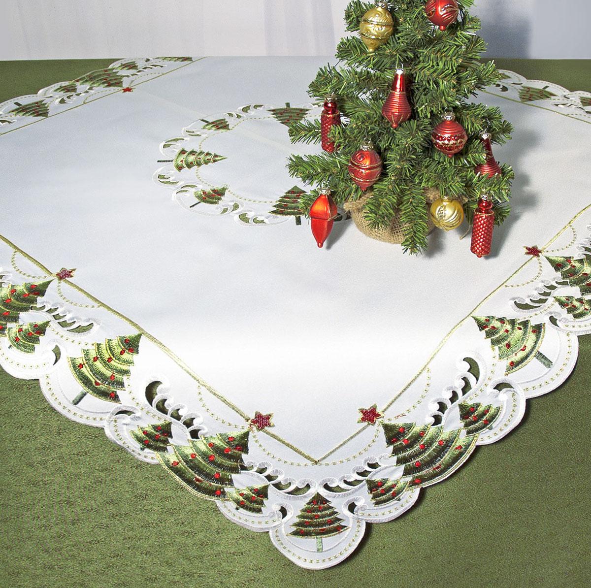 """Скатерть """"Schaefer"""", квадратная, цвет: белый, зеленый, 85 x 85 см. 07494-100"""