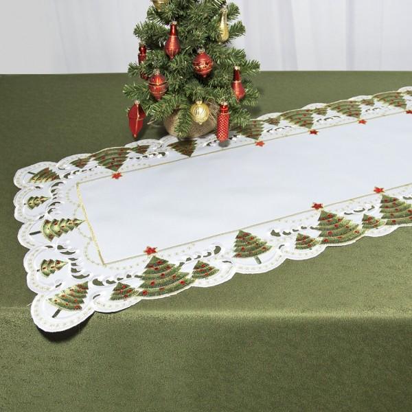 """Дорожка для декорирования стола """"Schaefer"""", прямоугольная, цвет: белый, зеленый, 40 x 110 см 07494-233"""