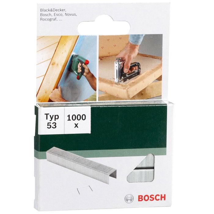 Скобы Bosch для строительного степлера, тип T53, 6 мм, 1000 шт скрепки для степлера bosch 1000 14мм тип 53 1609200368