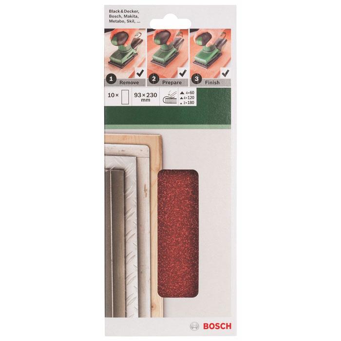 Набор шлифовальных листов Bosch, 93 х 230 мм, зерно 60/120/180, 10 шт набор шлифовальных лент bosch 2608606073 p 150