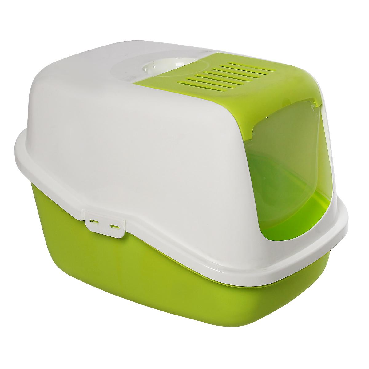 Туалет для кошек Savic Nestor, закрытый, цвет: белый, зеленый лимон, 56 х 39 х 38,5 см туалет для кошек curver pet life закрытый цвет кремово коричневый 51 х 39 х 40 см