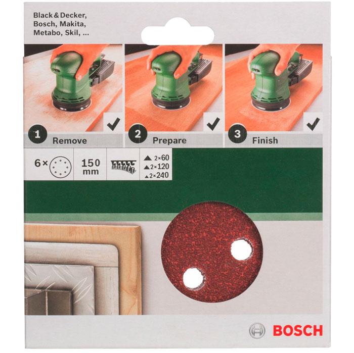 Набор шлифовальных кругов Bosch, 150 мм, зерно 60/120/240, 6 шт набор шлифовальных лент bosch 2608606073 p 150
