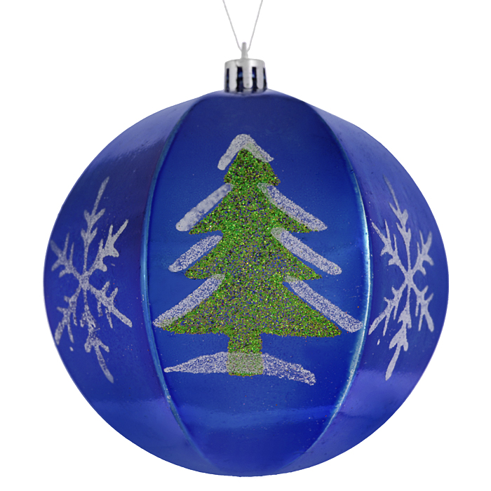 Набор новогодних подвесных украшений Sima-land Шар, цвет: синий, диаметр 10 см, 2 шт. 799470 набор новогодних подвесных украшений sima land гранд елочка диаметр 8 см 6 шт