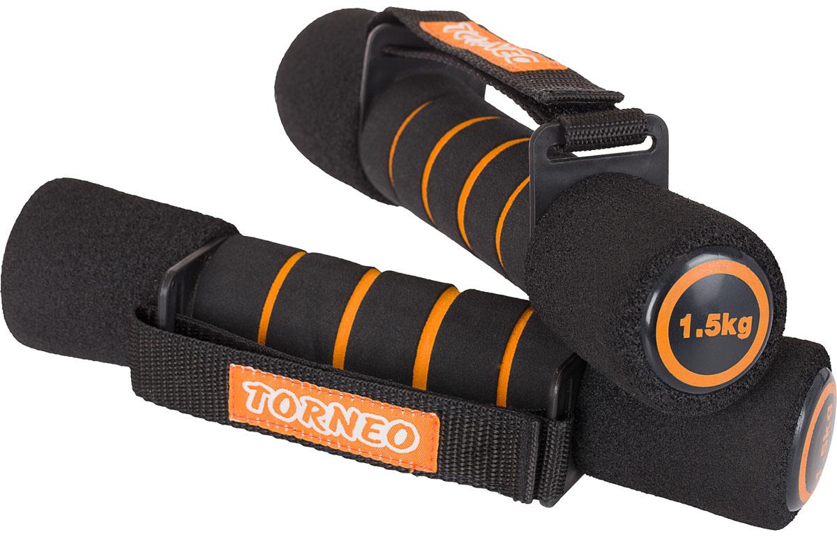 Гантели для фитнеса Torneo Fitness, цвет: черный, 2 х 1,5 кг torneo torneo smart bike b 004