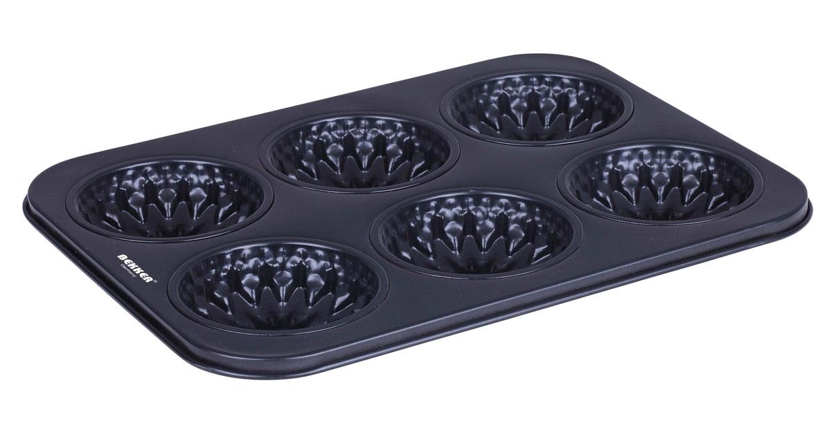 Форма для выпечки Bekker, с антипригарным покрытием, 6 ячеек, 26,5 х 18 х 1,8 см форма для выпечки bekker утенок цвет бордовый 18 х 16 х 3 5 см