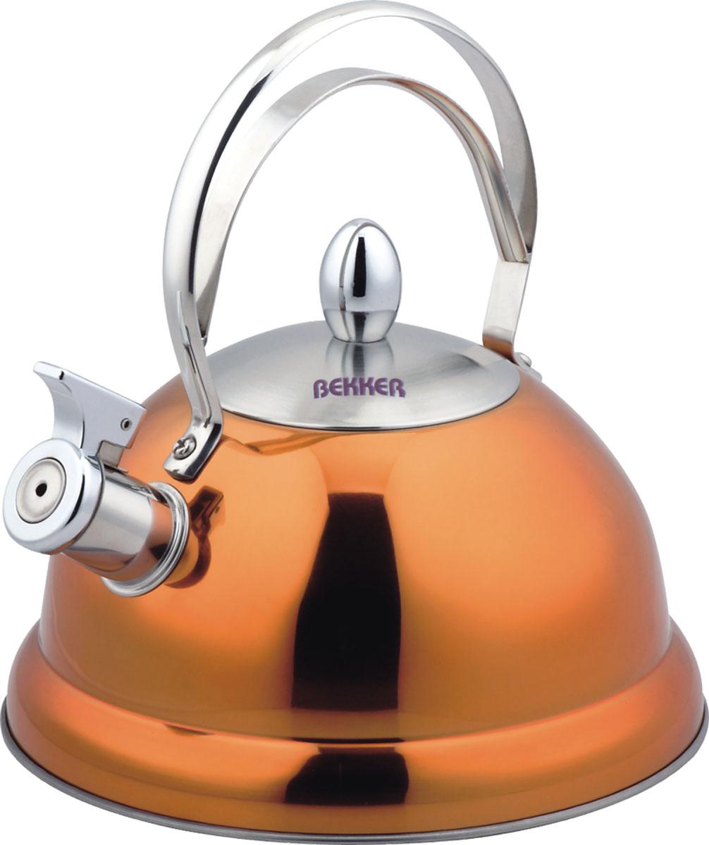 Чайник Bekker De Luxe со свистком, цвет: оранжевый, 2,6 л. BK-S427 цена