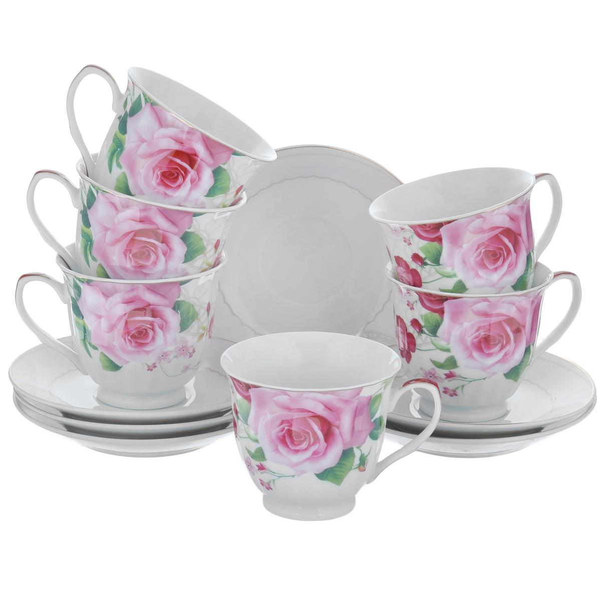 """Набор посуды """"Нежные розы"""", 12 предметов"""