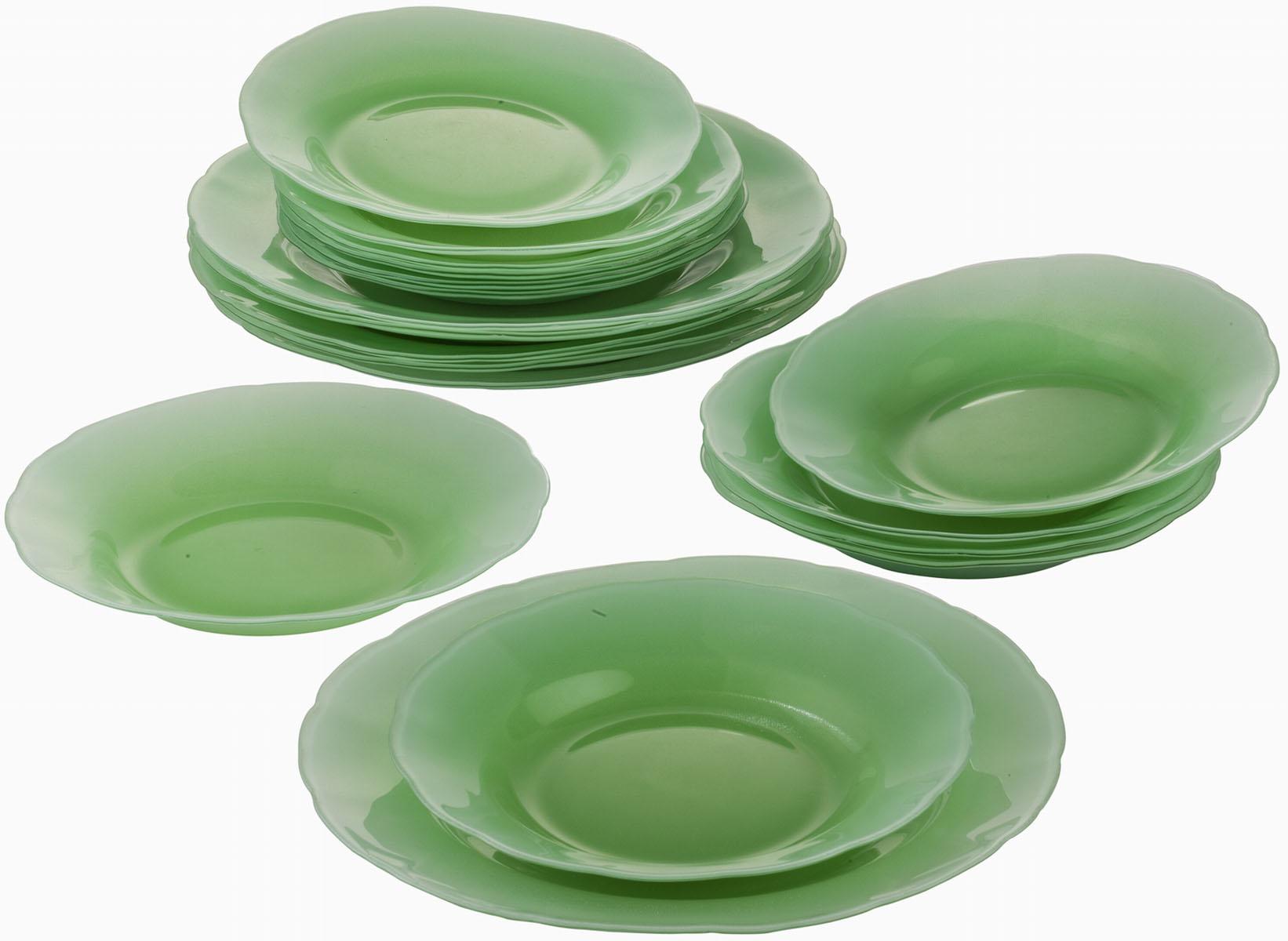 """Сервиз обеденный Bekker """"Koch"""", 18 предметов, цвет: зеленый. BK-9904"""