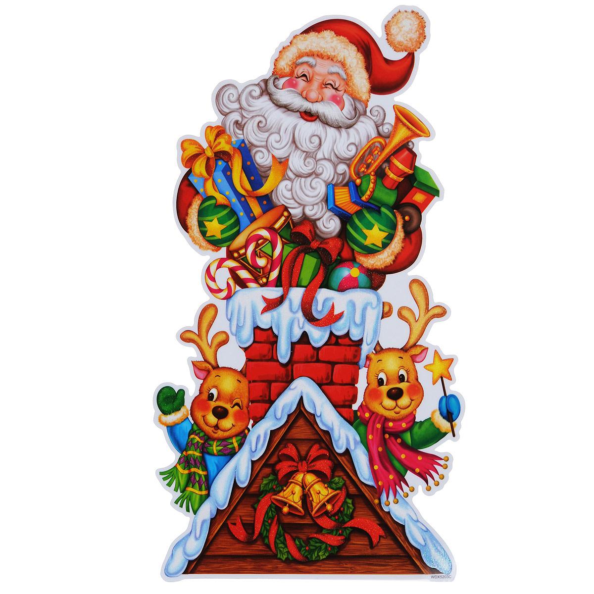 Новогоднее оконное украшение Room Decoration Дед Мороз и оленята, 42 х 24 см оконное украшение дед мороз и снегурочка 2000049137130 30 х 41 5 х 1 см