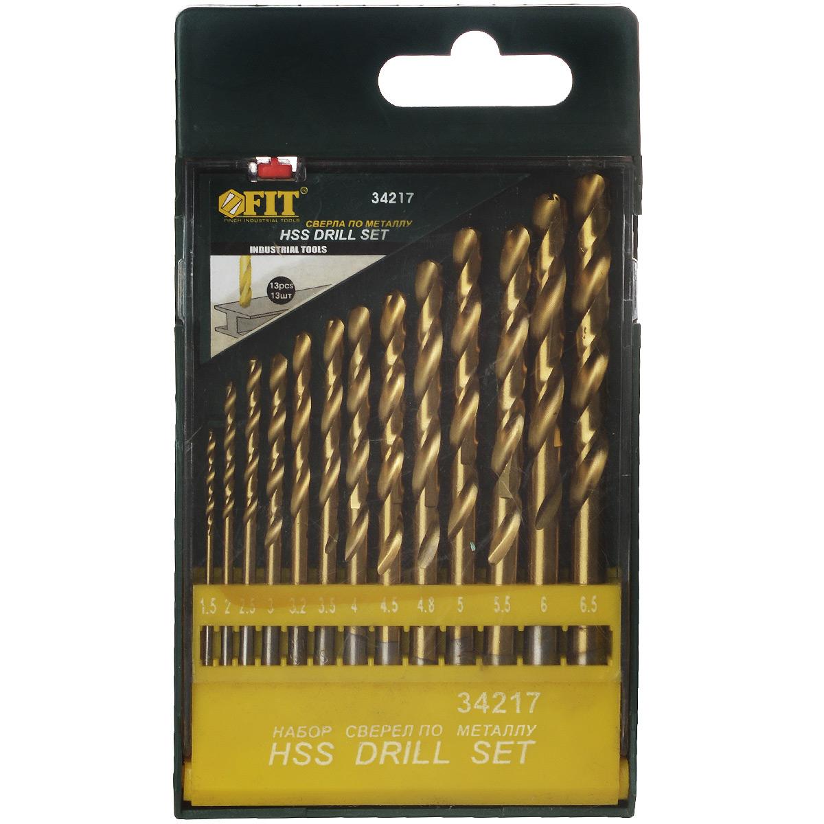 Набор сверл по металлу FIT, 13 шт. 34217 набор сверл по металлу fit 13 шт 34217